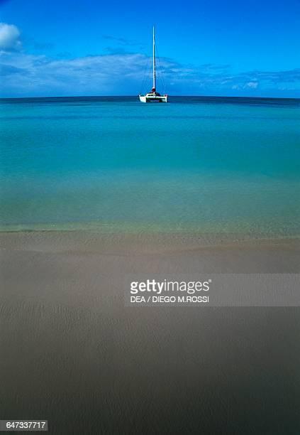 Beach and catamaran near Setting Point Anegada British Virgin Islands