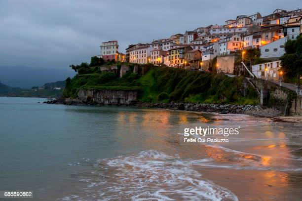 Beach and city of Lastres, in Asturias, northern Spain