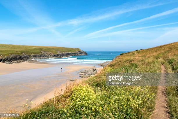 Beach And Cove At Porth Joke, Pentire In Cornwall, England, Britain, Uk.