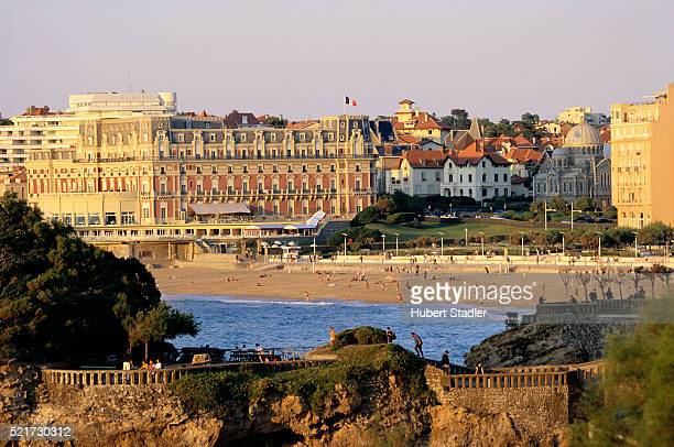 beach and hotels in biarritz - biarritz stock pictures, royalty-free photos & images