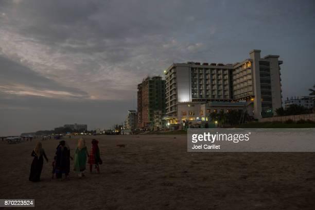 Beach and hotels in Cox's Bazar, Bangladesh