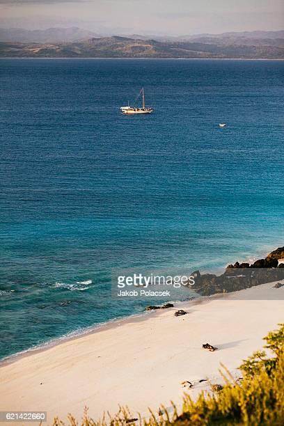 Beach  and lagoon on the Island of Halura