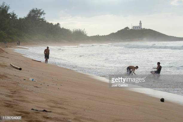 Beach and lighthouse in Arecibo, Puerto Rico