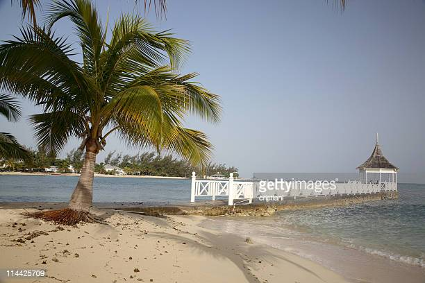 beach and pier in montego bay jamaica - montego bay stock pictures, royalty-free photos & images