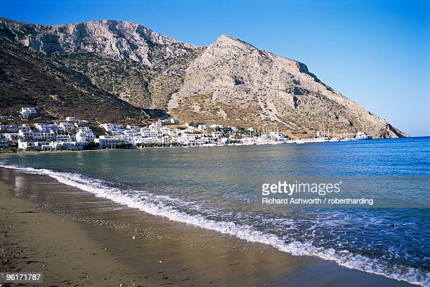 Beach and port of Kamares, island of Sifnos, Cyclades, Greece
