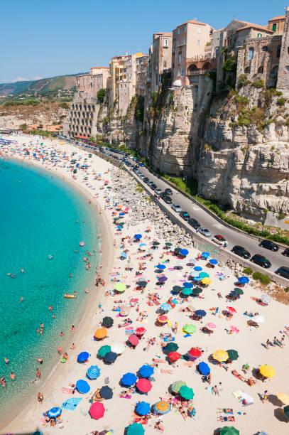 "Beach, and rock city Tropea, Calabria, Italy""n"