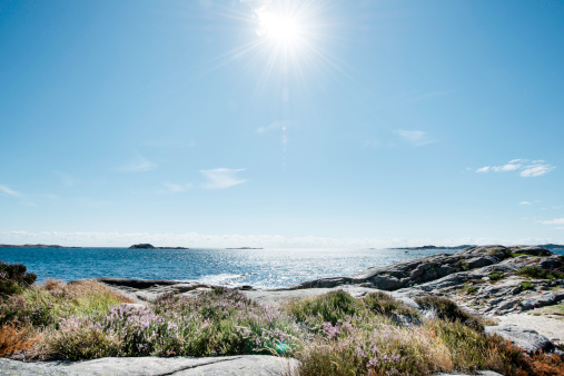 Beach and Sea in bright sunlight, South Norway - gettyimageskorea