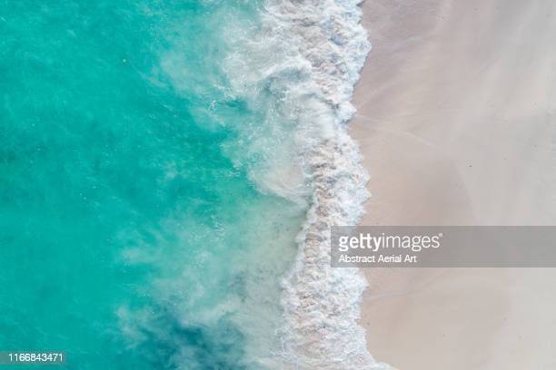 beach and sea waves shot from above, barbados - barbados stock pictures, royalty-free photos & images