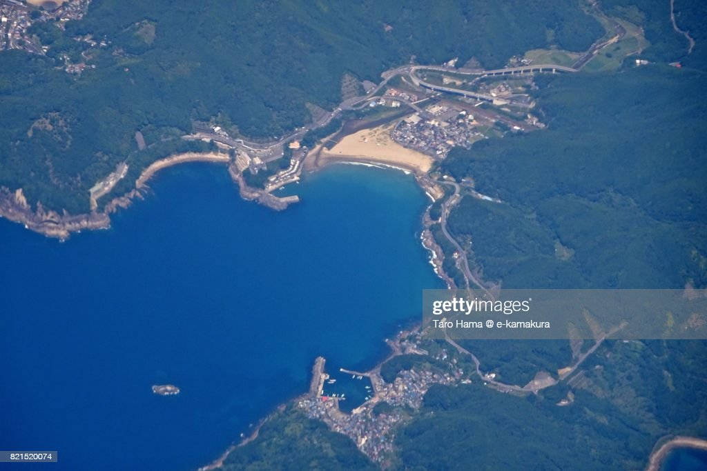 Beach and seaside line in Kumano city in Mie Prefecture daytime aerial view from airplane : ストックフォト
