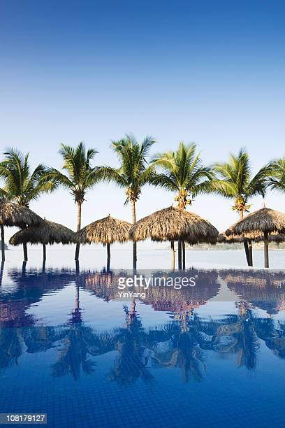 Beach and Swimming Pool of Tourist Resort Hotel in Mexico
