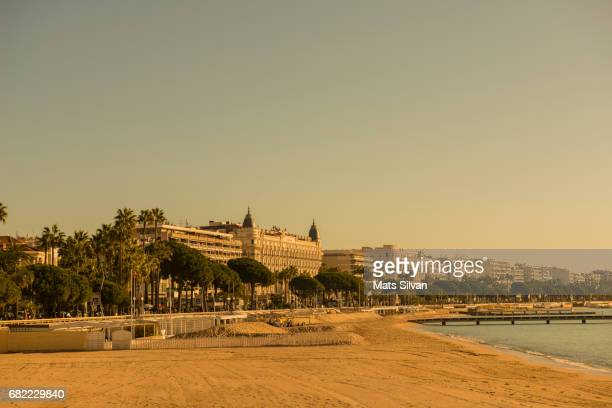 Beach and the sea with city view in Cannes