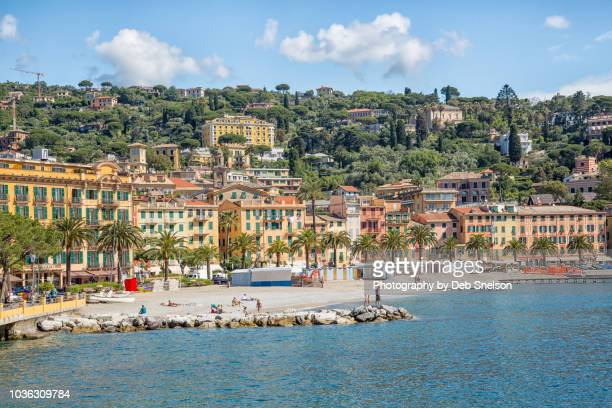 beach and town of santa margherita on the italian riviera - liguria stock photos and pictures