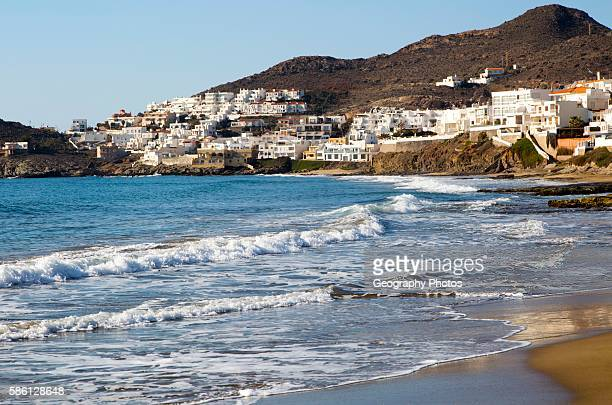 Beach and waves at San JosŽ Cabo de Gata natural park Almeria Spain