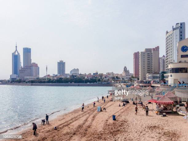 Beach around Zhanqiao Pier & Huilan Pavillon in Qingdao.