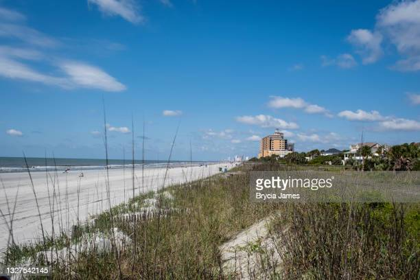 beach at 66th. avenue north myrtle beach - brycia james stock pictures, royalty-free photos & images