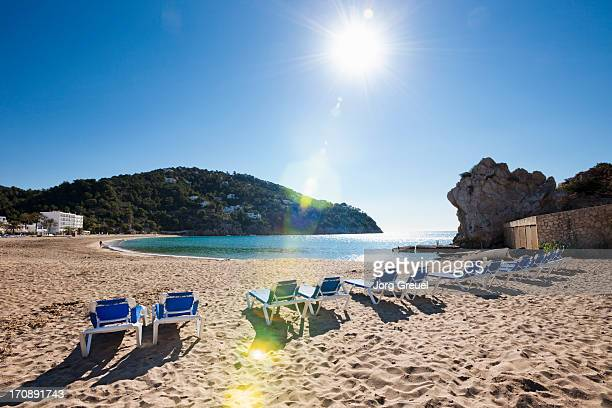 beach at cala de sant vicent - insel ibiza stock-fotos und bilder