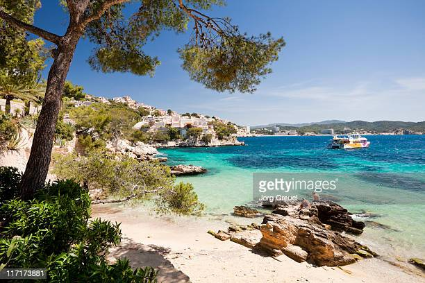 a beach at cala fornells - majorca stock pictures, royalty-free photos & images