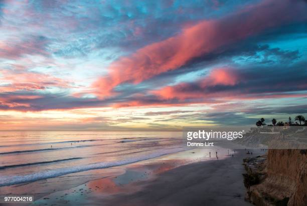 beach at carlsbad at sunset, san diego, california, usa - carlsbad california stock pictures, royalty-free photos & images