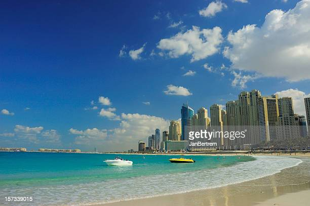 Beach at Dubai Marina on a beautiful day
