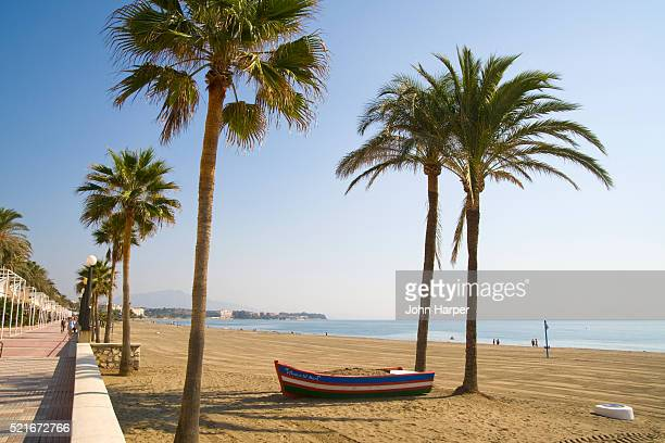 beach at estepona on spain's costa del sol - andalucia stock pictures, royalty-free photos & images