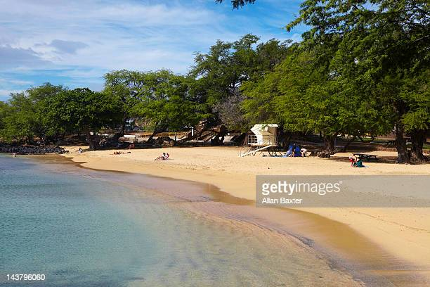 beach at hapuna bay - hapuna beach stock photos and pictures