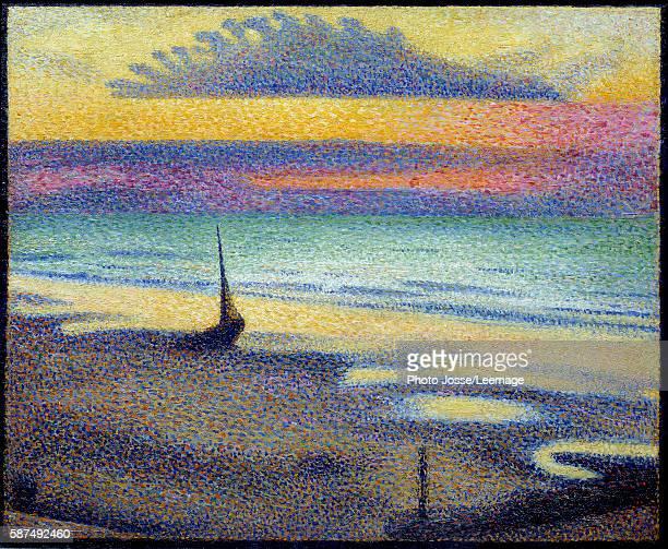 Beach at Heist Painting by Georges Lemmen Belgian School 1891 Oil on wood 037 x 046 m Orsay Museum Paris