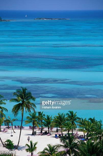 beach at nassau - cable beach bahamas stock photos and pictures