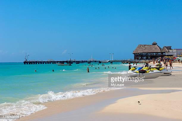 Beach at Playa del Carmen and ferry terminal to Cozumel at the background Caribe Quintana Roo state Mayan Riviera Yucatan Peninsula Mexico