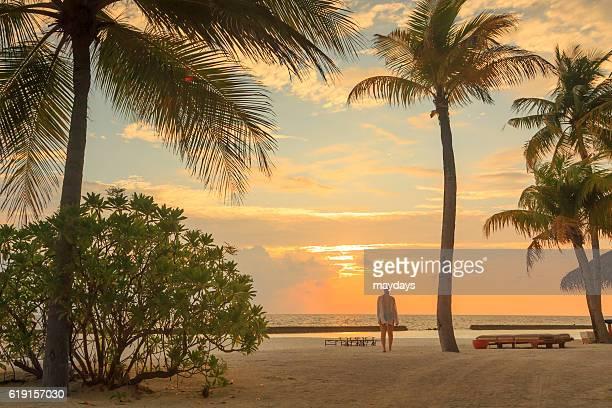 Beach at sunset in Maldives