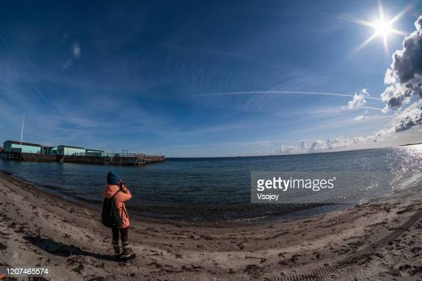 beach at the amager strandpark, copenhagen, denmark - vsojoy stock pictures, royalty-free photos & images