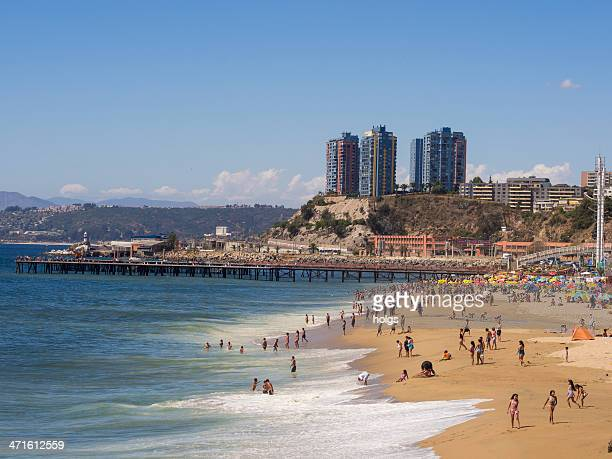 beach at valparaiso, chile - vina del mar stock pictures, royalty-free photos & images