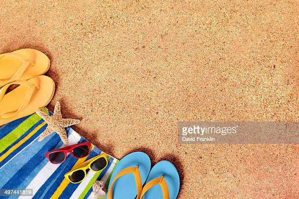 Beach background or border with sunglasses