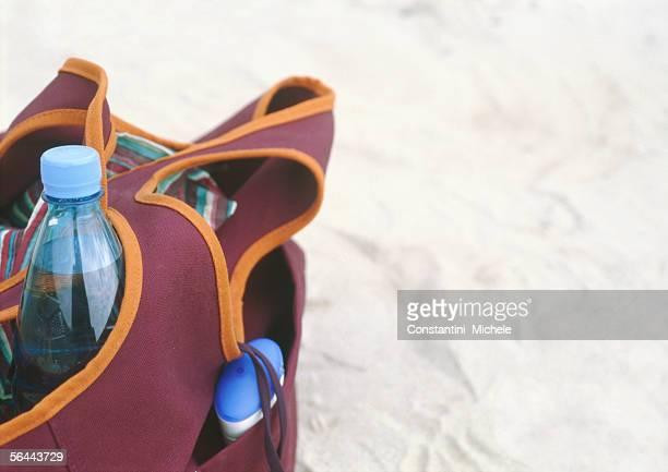 Beach bag containing supplies