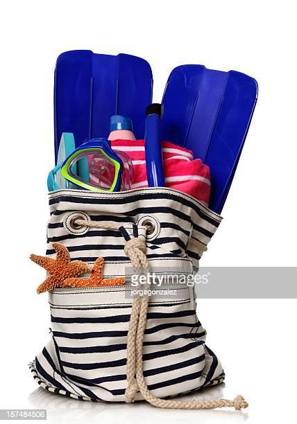 Beach bag towel and snorkeling set