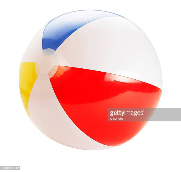 beach ball +clipping path (click for more) - bouncing ball stock photos and pictures