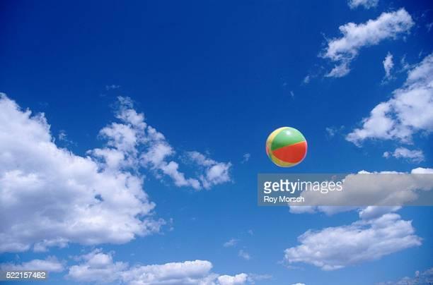 beach ball in the air - ビーチボール ストックフォトと画像