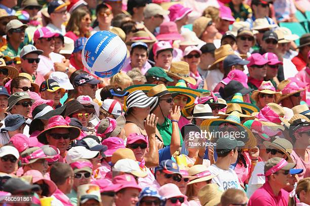 A beach ball is seen in the crowd during day three of the Fifth Ashes Test match between Australia and England at Sydney Cricket Ground on January 5...