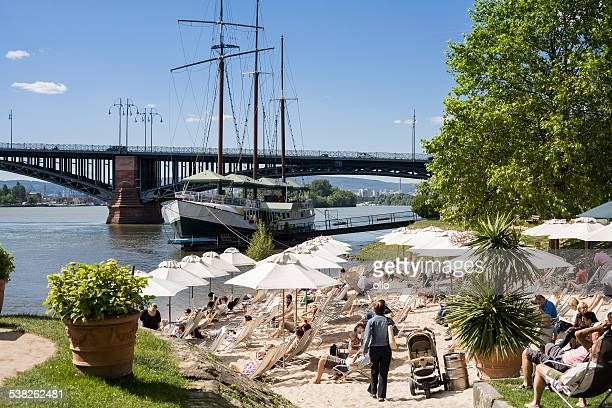 Beach bar and restaurant ship at River Rhine