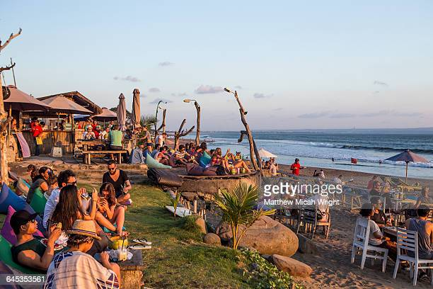A beach bar is a great place to watch the sunest.