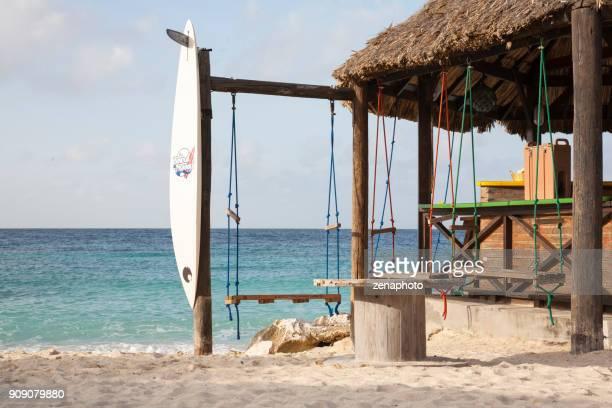 オーシャン ビュー ビーチバー - カリブ海オランダ領 ストックフォトと画像