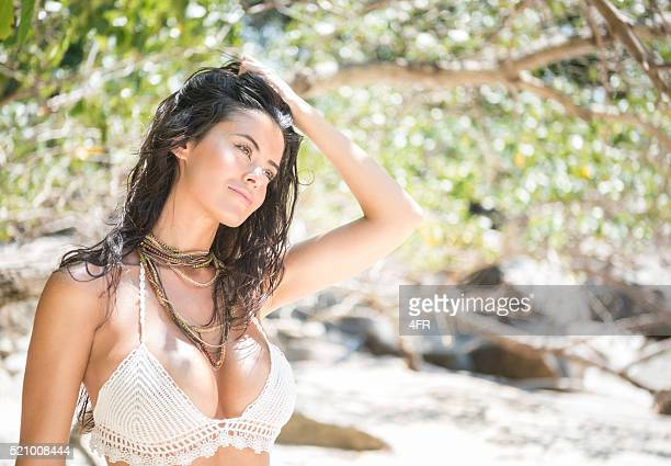 beach beauty - hot babes stock photos and pictures