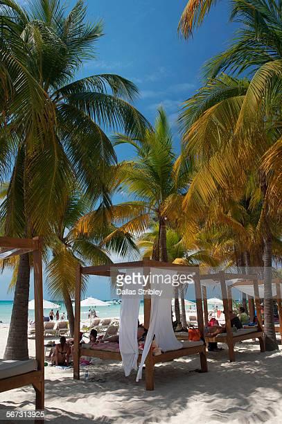 beach beds on north beach, isla mujeres - mujeres fotos stockfoto's en -beelden