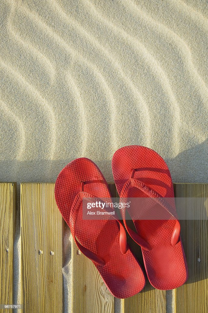 Beach Boardwalk and Red Shoes : Stock Photo