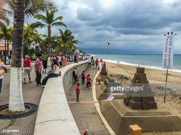 Beach boardwalk scene in Puerto Vallarta, Mexico