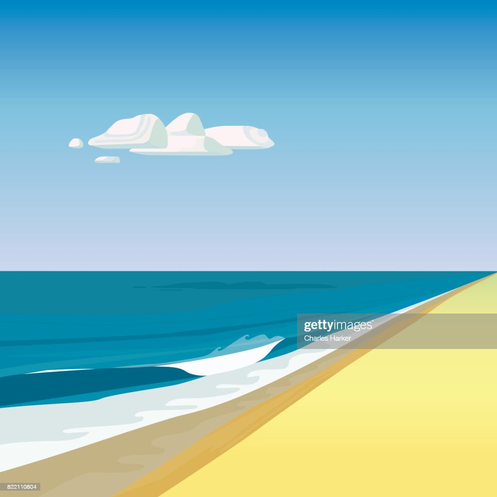 Beach by Ocean Illustration in Square Format : Stock-Foto