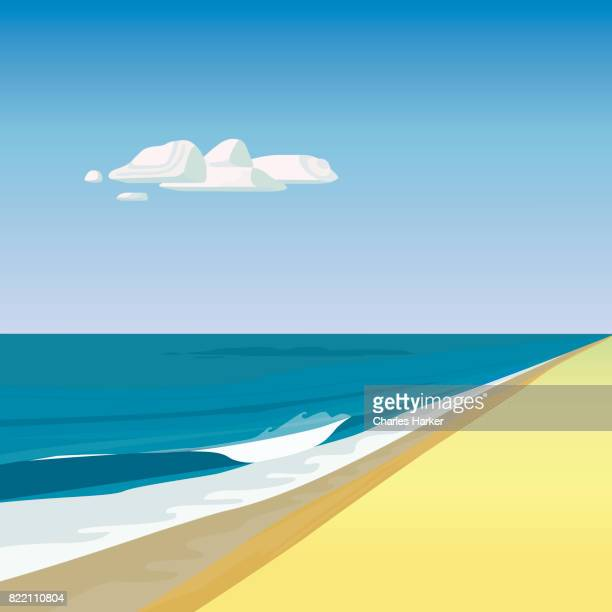 beach by ocean illustration in square format - illustration stock pictures, royalty-free photos & images