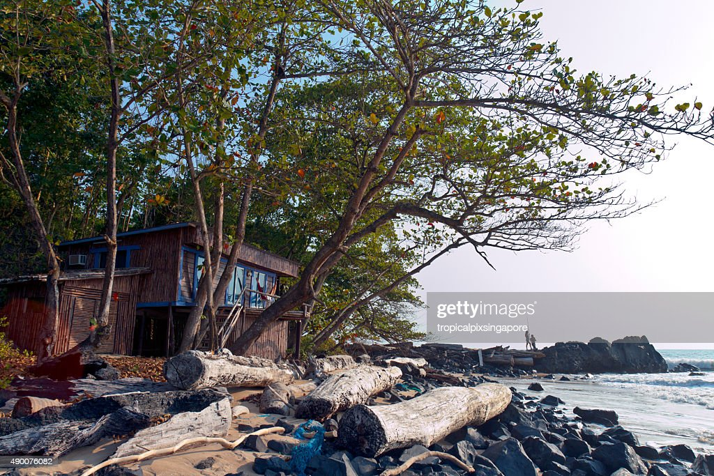 Beach cabin in Pongara National Park : Stock Photo