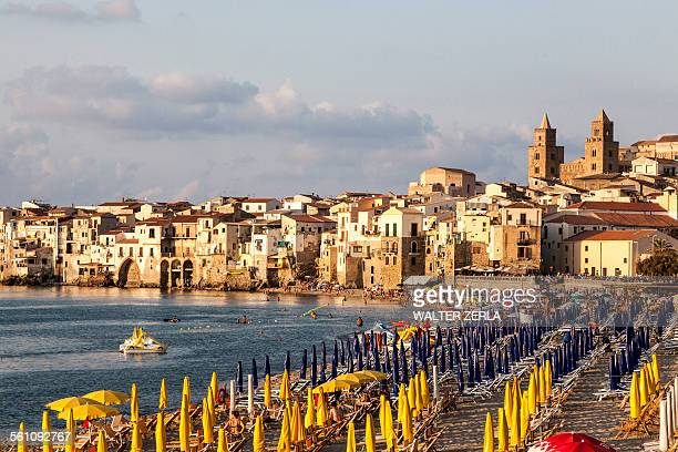 beach, cefalu, palermo, sicily, italy - palermo sicily stock photos and pictures