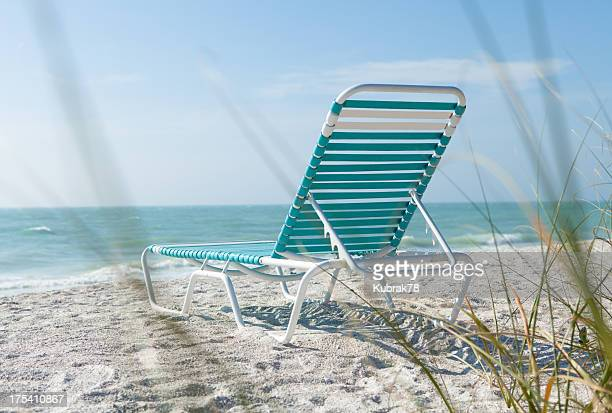 beach chair at the ocean - sarasota stock pictures, royalty-free photos & images