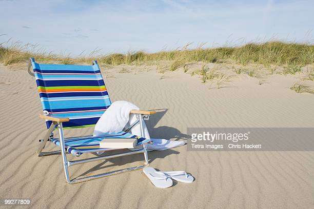 beach chair - outdoor chair stock pictures, royalty-free photos & images